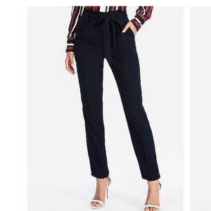 Express Navy High waisted sash tie ankle pant NWT